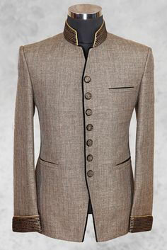 Light brown well dressed jute suit with bandhgala is part of Mens fashion wear - Indian Men Fashion, Mens Fashion Wear, Suit Fashion, African Shirts For Men, African Clothing For Men, Mens Kurta Designs, Designer Suits For Men, Suit And Tie, Blazers For Men