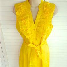 SHIRT DRESS Sleeveless shirt dress, ruffles, belt, lining, 100%cotton, like new condition Calvin Klein Dresses
