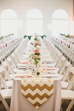 13 Show Stopping Long Reception Tables For Your Big Day. Chevron Table  RunnersWedding ...