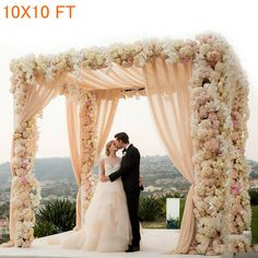 UNHO 10X10FT 4Post Canopy Chuppah Mandap Wedding Photo Studio Background Hardware Kit