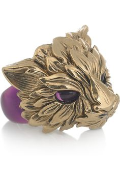 Roberto Cavalli  Fox Swarovski crystal-embellished enameled ring  $510