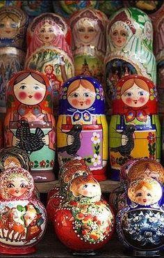 Matryoshkas (Russian nesting dolls) are waiting for their new homes. #Russian #folk #art #matryoshka