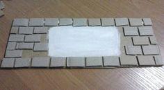 Quadro de tijolinhos de papelão | Artesanato & Humor de Mulher