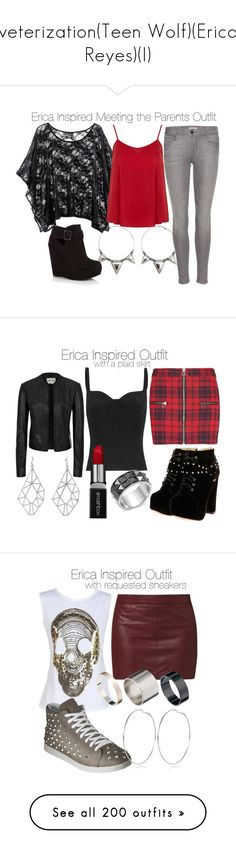 """veterization(Teen Wolf)(Erica Reyes)(I)"" by nessiecullen2286 ❤ liked on Polyvore featuring Charlotte Russe, Burberry, Dorothy Perkins, MANGO, Alexander McQueen, Boohoo, Smashbox, Style Tryst, Reiss and Glitterrings"