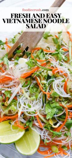 Fresh And Easy Vietnamese Noodle Salad - FoodieCrush Recipes - Vermicelli Recipes, Vermicelli Noodles, Rice Noodles, Rice Noodle Recipes, Rice Noodle Salads, Chinese Noodle Salads, Noodle Noodle, Rice Salad Recipes, Recipes