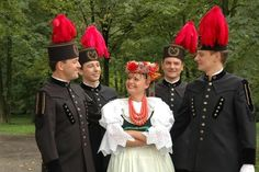 PolandUpper Silesia, traditional coal-miners parade uniforms. The colours of feathers meant the rank.