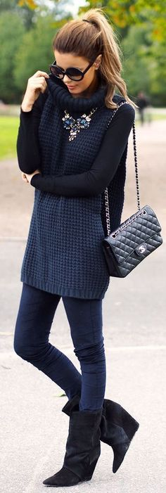 #fall #fashion / monochrome Blue Maxi, Sweater Vest Outfit, Long Sweater Vest, Tunic Sweater, Vest Outfits, Long Sweater Outfits, Black Outfits, Night Outfits, Grey Sweater