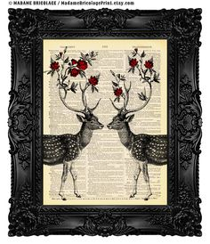 Dictionary Art Deer Antler Decor Antler Art Two Deers with Flower Antlers Vintage Antique Book Page Print on Dictionary Paper 440 by MadameBricolagePrint on Etsy