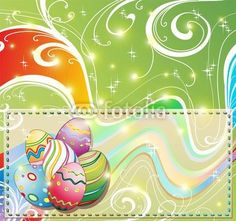 Banner Bright Easter Eggs Card-Vector © bluedarkat