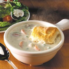Chicken Pot Pie Stew with Buttermilk Biscuits at Souplantation and Sweet Tomatoes. Whether you put the biscuit in the bowl first and pour Chicken Pot Pie Stew on top or you dip the biscuit in the soup, it is delicious any way!