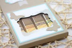 Anleitung für eine Merci-Verpackung, Schokoladenverackung mit Stampin Up Papierschneider basteln, Stampin Up Happy Watercolor, Stanze elegan...