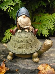 Gnome Riding on Turtle Figurine Statue Acorn Gnomes Whimsical Elf Garden Statue | eBay