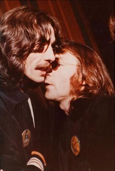 George Harrison and John Lennon (taken in 1974 - might be last known photo of the George and John together)