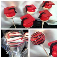 Grad Cake Pops on Cake Central Graduation Cake Pops, Graduation Desserts, Graduation Party Foods, Graduation Cupcakes, Macaroons, Cake Pop Designs, Cake Pop Tutorial, Chocolate Pops, Christmas Party Food