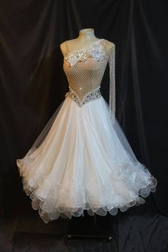 Stunning white standard ballroom dress. Full white skirt with several layers of white ruffles at the hemline. Netted fabric on bodice covered in stones. Pearls and stones of different sizes around waistline of the dress. One long sleeve in netted fabric. Stoned flowers around neckline and on back of dress on shoulder blade and hip.