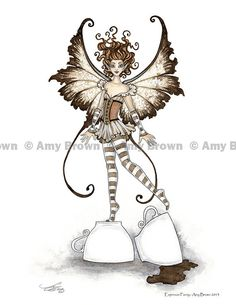 Espresso Coffee Fairy 8.5x11 print by Amy Brown by AmyBrownArt, $14.00
