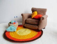 Super cute handmade crochet living room pattern, via Patons. Couch rug basket amigurumi
