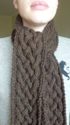 Celtic Cable Scarf!! So beautiful and luxurious! This pattern was fun because I learned how to knit cables.  I'd say this free knitting pattern is beginner/intermediate.
