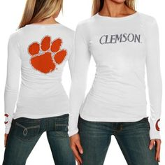 Clemson Tigers Ladies Finish Line Long Sleeve Slim Fit T-Shirt - White