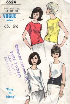 Vintage 1960s Vogue Sewing Pattern 6524 - Misses' Blouses size 14 bust 34""