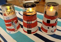 Paper cup craft ideas with the tutorial site names. Easy and inexpensive crafts to make with the kids. Holiday and seasonal ideas. Vbs Crafts, Bible Crafts, Crafts To Make, Crafts For Kids, Lighthouse Keepers Lunch, Paper Cup Crafts, Paper Cups, Tutorial Sites, Am Meer