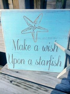 Beach Sign Make A Wish Upon A Starfish Coastal by justbeachyshop, $29.75