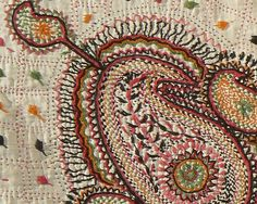 Beautiful Large Kantha Quilt from West Bengal region of India. Late 19th or early 20th century. Beautiful botehs and overall embroidery. 68 x 42 inches. Beautiful embroidery, excellent condition. Ask for more ... | rugrabbit.com