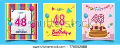 Vector Sets of 48 Years Birthday invitation, greeting card Design, with confetti and balloons, birthday cake, Colorful Vector template Elements for your Birthday Celebration Party.
