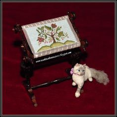 A new commission is finished - dollhouse miniature needlework frame. Design is by Annelle Ferguson, stitched by me. Needlework frame is . Needlepoint, Dollhouse Miniatures, Needlework, Decorative Boxes, Stitch, Frame, Pattern, Design, Christmas