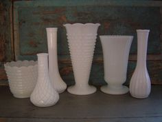 Milk Glass Vases Wedding Centerpieces by turquoiserollerset, $48.00