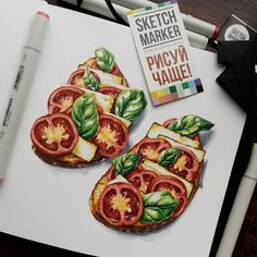 Food art foodieart in 2019 pinturas, desenhos Illustration Art Nouveau, Fruit Illustration, Food Illustrations, Copic Marker Drawings, Marker Art, Art Drawings, Food Sketch, Watercolor Food, Copic Art