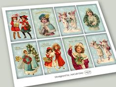 CHRISTMAS SPIRIT  Gift Tags Digital Collage Sheet by ArtCult, $4.60