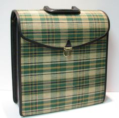 Vintage Green Plaid LP Record Carrier A Product of Columbia Records by VintageCreekside, $65.00