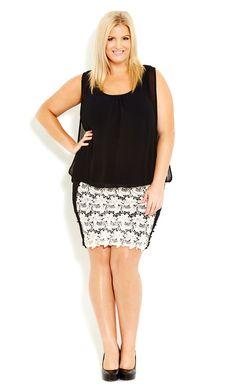 City Chic - CROCHET LACE DRESS  - Women's Plus Size Fashion
