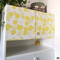 I ordered @Spoonflower Wallpaper for the first time (the Peel and Stick Removable Woven variant) to pimp my new IKEA bathroom cupboards. It's really easy to apply and adds a nice dash of color to the plain white doors 💛 . The yellow floral is available in my Spoonflower shop (link in bio) on various fabrics and wallpapers. And in blue + red too! The URL of this pattern is www.spoonflower.com/en/wallpaper/9800550 . Ich habe zum ersten Mal @Spoonflowerde Tapeten bestellt, und zwar die… Ikea Bathroom, Bathroom Cupboards, Bathroom Ideas, Perfect Wallpaper, Wallpaper Roll, Spoonflower Fabric, White Doors, Design 24, Custom Wallpaper
