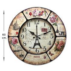 Reloj pared redondo Torre Eiffel Shabby Chic Wood Clocks, Antique Clocks, Paint Recycling, Tick Tock Clock, Decoupage Printables, Clock Art, Mandala Pattern, Tour Eiffel, Fashion Room
