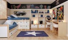Resultado de imagen de habitaciones infantil cama tren dos niños esquina