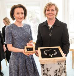 Korun luovutus 31.5.2017   by TPKanslia   The Office of the President of the Republic of Finland received a set of beautiful necklace and earrings by The Finnish Goldsmith Association. This is part of Finland 100 years occasion. On the left Mrs Jenni Haukio, The President of the Republic of Finland Sauli Niinistö's spouce. Picture ©Matti Porre/The Office of the President of the Republic of  Finland