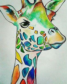 Cute giraffe colorpencil drawing