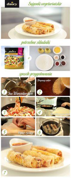 Sajgonki z warzywami podawane z sosem słodko-pikantnym.  http://www.daucyinspiruje.pl/przepis/sajgonki-wegetarianskie/