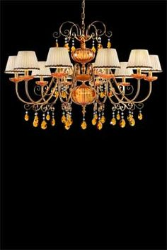 I really like these orange and gold chandeliers.