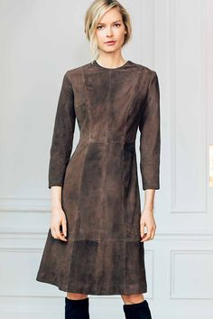 Jewel Neck Bracelet Length Sleeve A Line Dress in Suede | Isoude