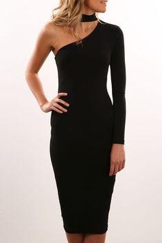 Girl Talk One Shoulder Dress Black