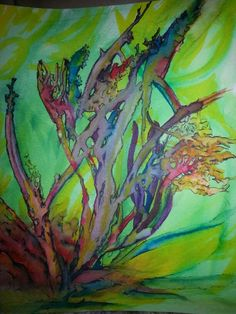 Watercolor underwater coral life