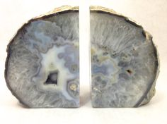 Natural Quartz Bookends, Agate Book Ends, Geode Pair in Celestial Quartz Colors