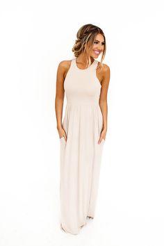 Solid Racer Back Maxi Dress- Beige - Dottie Couture Boutique
