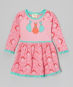 Take a look at this Pink & Turquoise Dresses On The Line Dress - Toddler & Girls by Cheeky Smyle on #zulily today!
