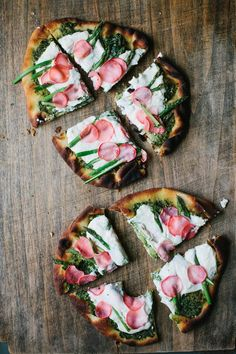 A Daily Something | Flatbread Pizza 3 Ways: Margherita, Spring Asparagus with Pickled Radish, and Greek Tzatziki