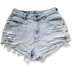 Vintage 90s Lee Blue Light Wash High Waisted Rise Cut Offs Frayed... (55 AUD) ❤ liked on Polyvore featuring shorts, bottoms, pants, ripped jean shorts, cut off jean shorts, high-waisted denim shorts, distressed high waisted shorts and cut off denim shorts