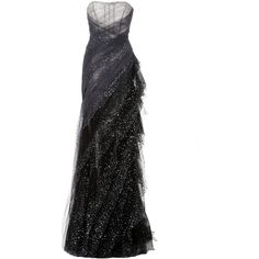 Pamella Roland Sequin Embroidered Hand Draped Gown ($7,370) ❤ liked on Polyvore featuring dresses, gowns, grey, sequin dress, gray gown, sequin ball gown, sequin gown and embroidered gown